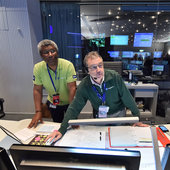 Flight director and project rep watching mission progress from the Main Control Room at ESOC during the Sentinel-2A liftoff, 23 June 2015