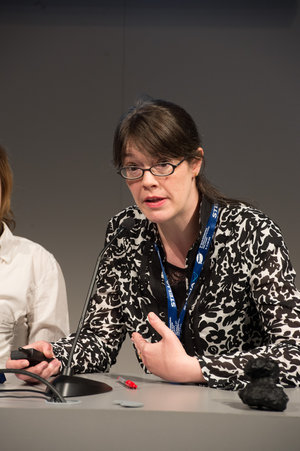 Elsa Montagnon during the Rosetta briefing at the ESA Pavilion