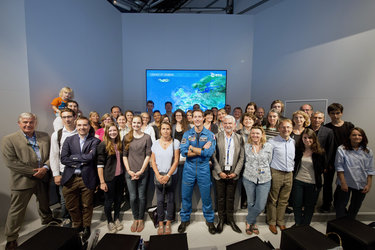 ESA staffs and ESA astronaut Thomas Pesquet