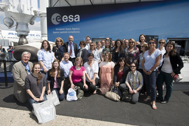 ESA staffs in front of the ESA pavilion
