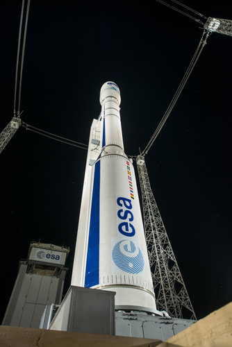 Fully assembled Vega VV05, carrying Sentinel-2A, ready for launch