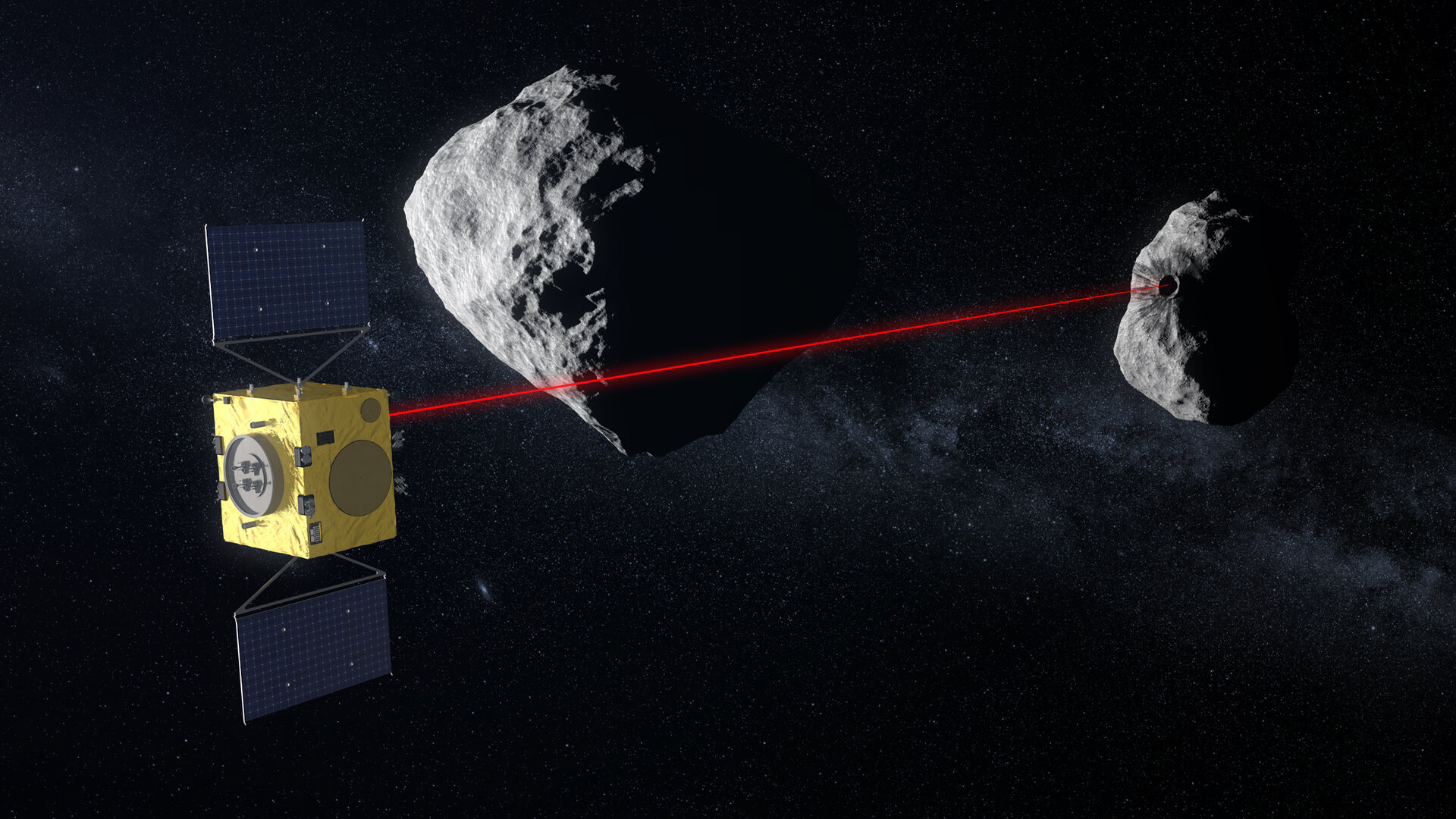 Using its laser altimeter Hera scans Didymoon's surface