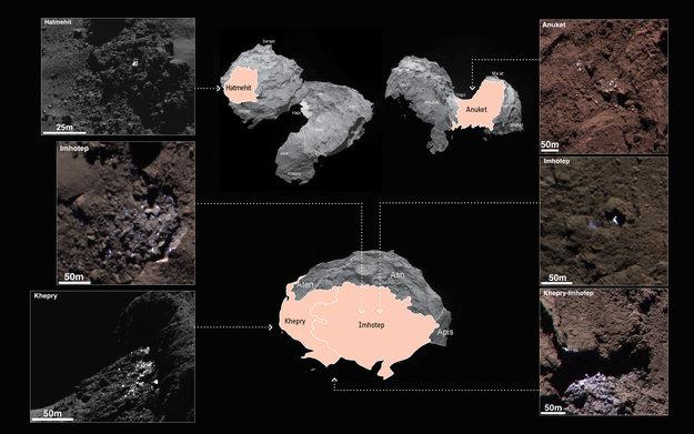 Områderne med vanis på komet 67P