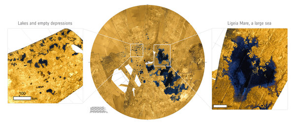 Lakes and seas on Titan