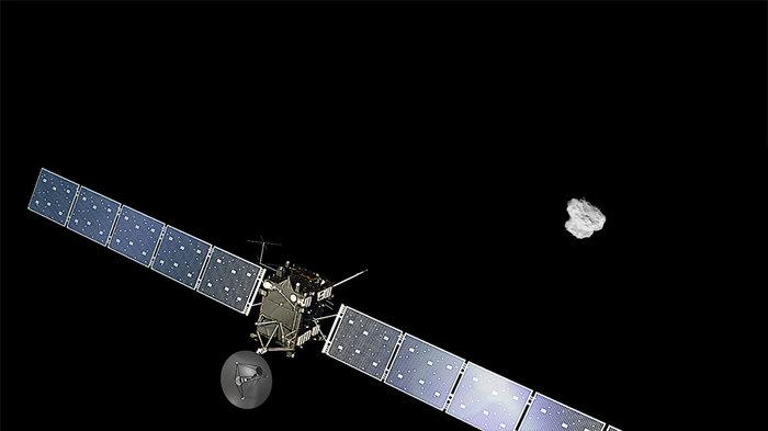 Rosetta och komet 67P (Bild:  ESA/ATG medialab och Rosetta/NAVCAM)