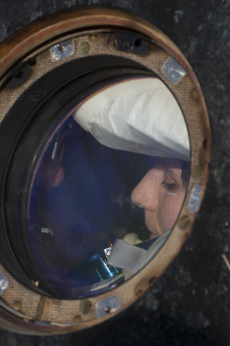 Samantha Cristoforetti in the Soyuz TMA-15M spacecraft