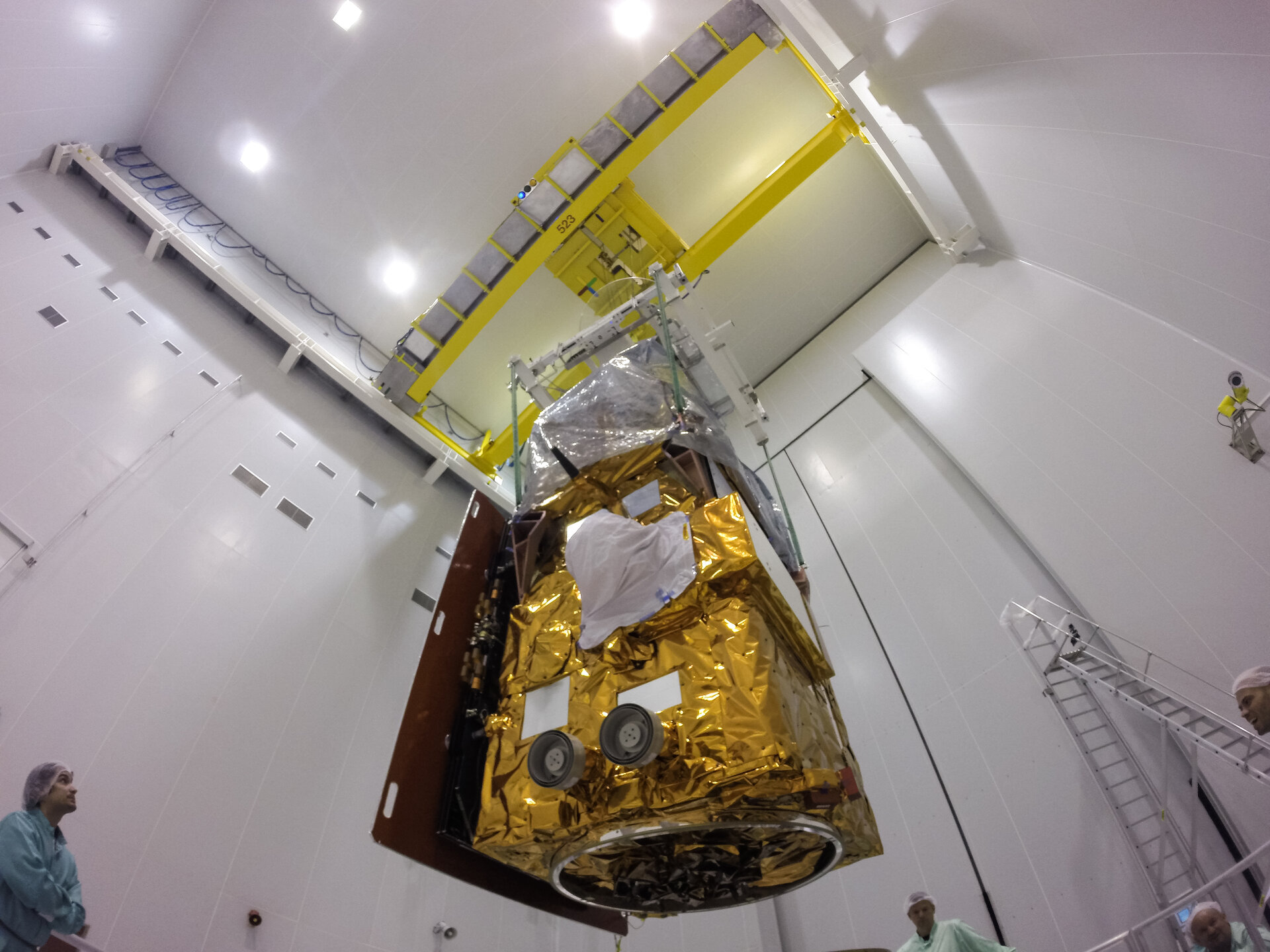 Sentinel-2A during its installation on its payload launcher adapter