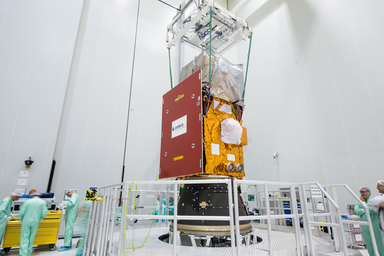 Sentinel-2A installed on its payload launcher adapter