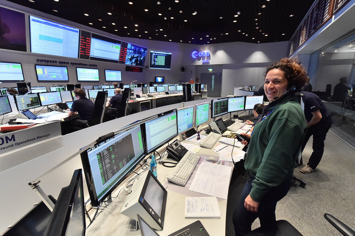 Mission Control Team in the Main Control Room at ESOC, Darmstadt, Germany, on 23 June 2015 during the launch of Sentinel-2A.