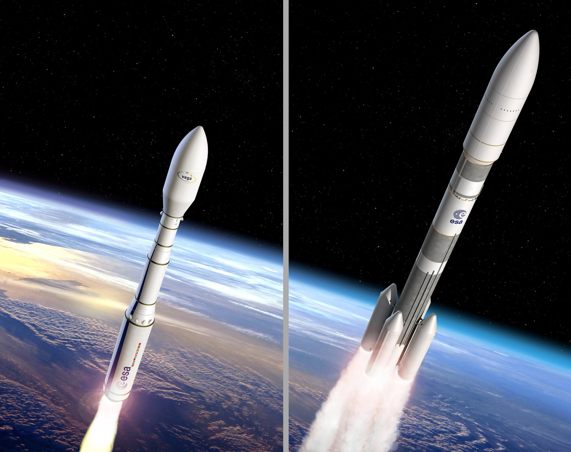 Artist's view of Vega C and Ariane 6