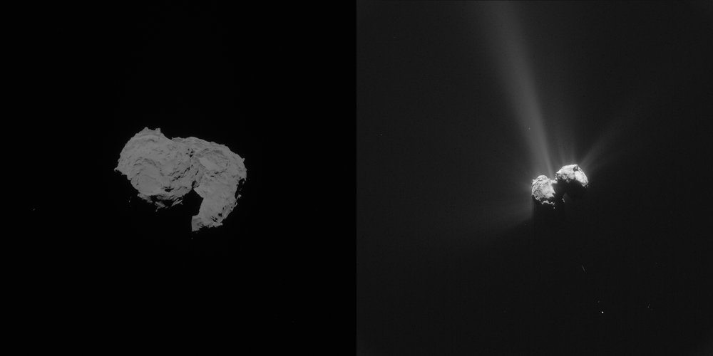 Comet on 6 August 2014 and 6 August 2015