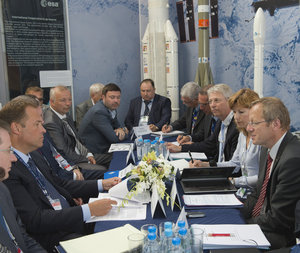 Meeting with Jan Wörner and Igor Komarov at MAKS 2015