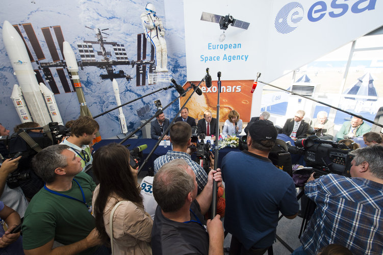 Press conference at the ESA chalet