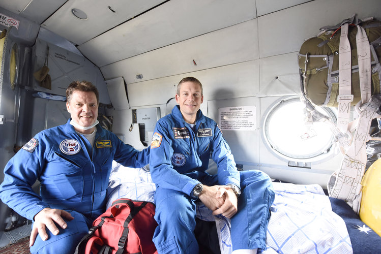 Andreas in a recovery helicopter shortly after landing