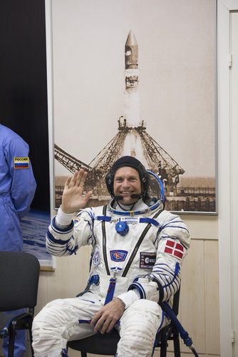 Andreas Mogensen dressed in his Russian Sokol suit