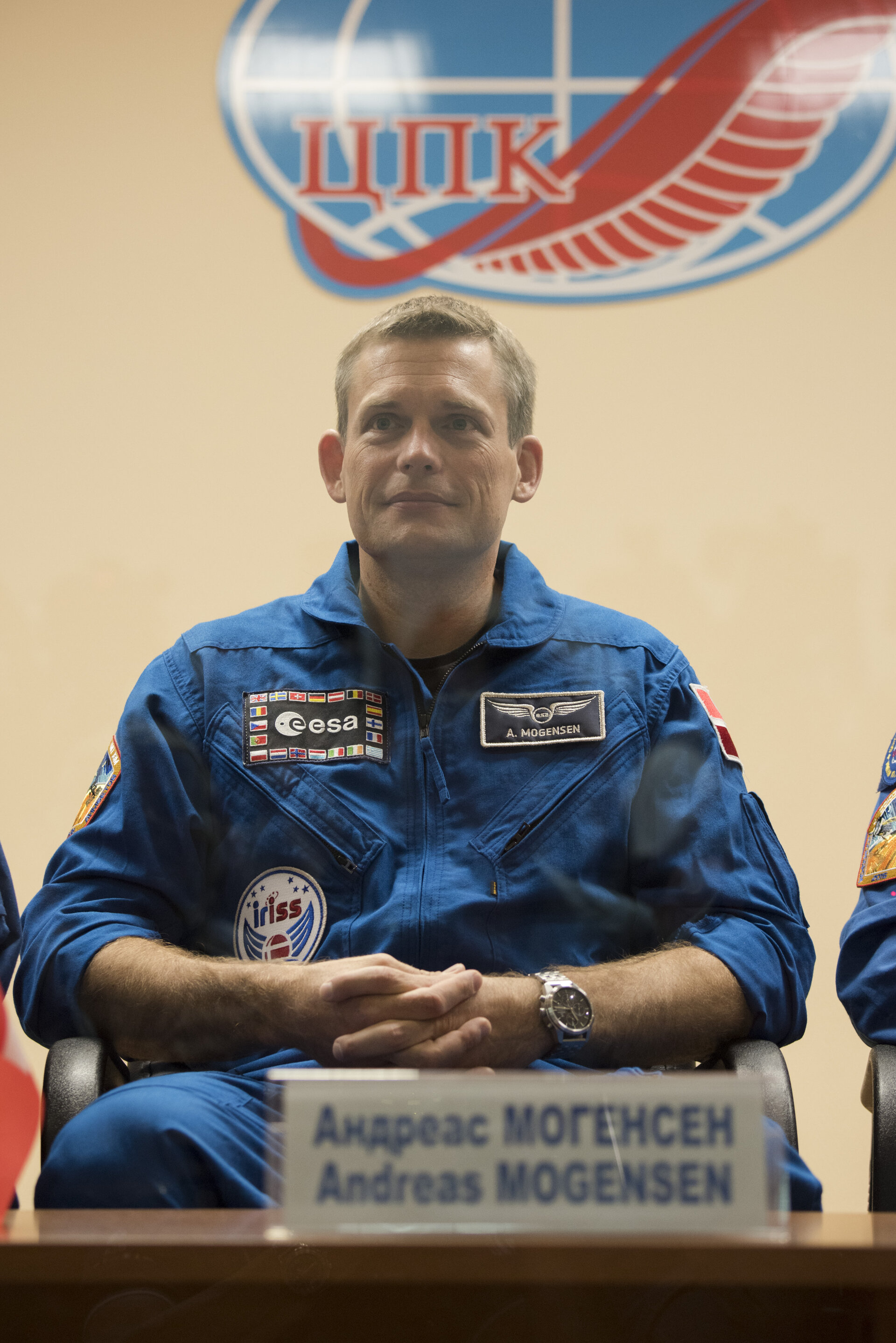 Andreas Mogensen during the press conference held at the Cosmonaut Hotel