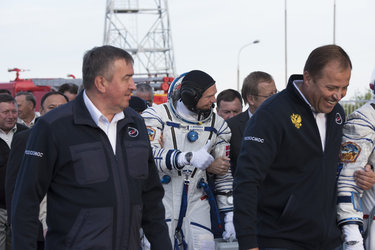 Andreas Mogensen walking to the launch pad