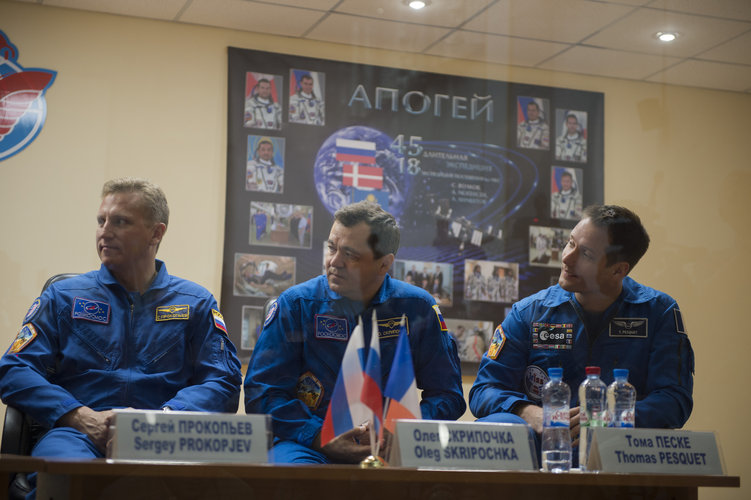 Backup crew members during the press conference held at the Cosmonaut Hotel