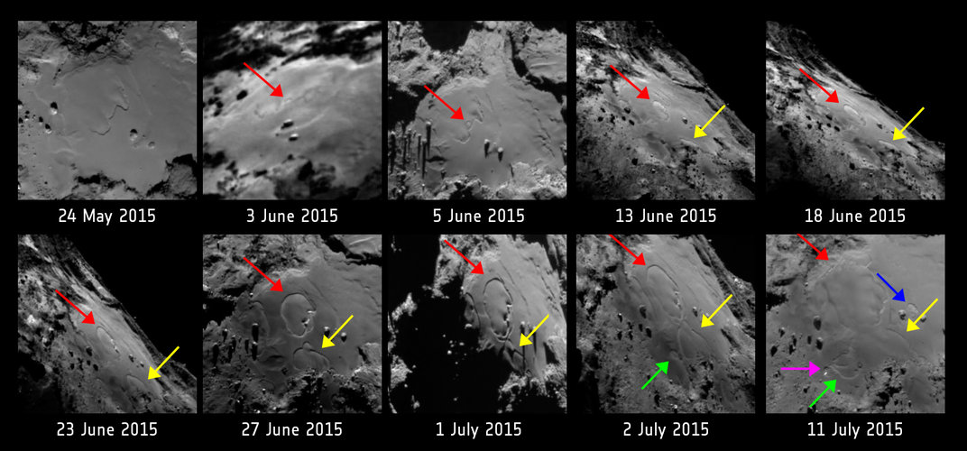 Comet surface changes, annotated