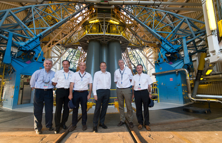 ESA and Arianespace representatives visit the Soyuz Launch Zone