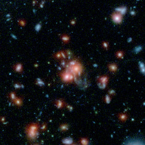 Galaxy cluster with bursting heart