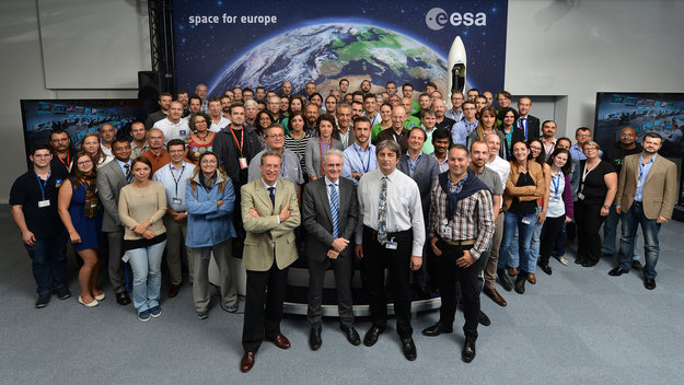 The joint ESA/CNES 'CNESOC' mission control team seen at ESOC in 2015 just prior to Galileo 9/10 launch