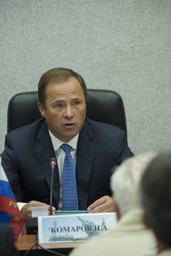 Igor Komarov during the State Commission meeting to approve the Soyuz launch