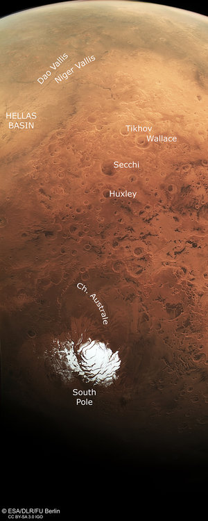 Mars south pole and beyond, annotated
