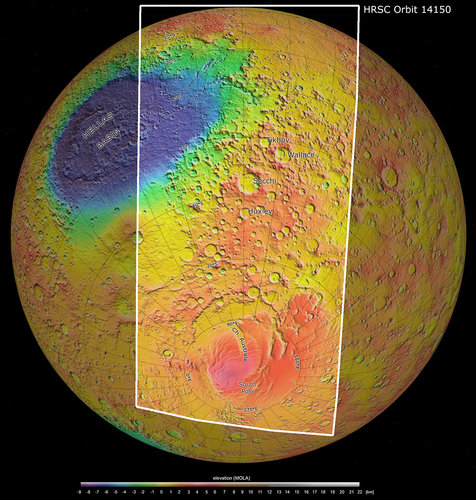 Mars south pole and beyond, topography