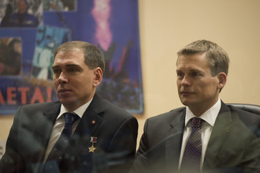 Andreas Mogensen during the State Commission meeting to approve the Soyuz launch