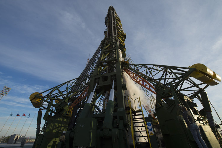 Soyuz stands ready at the launchpad