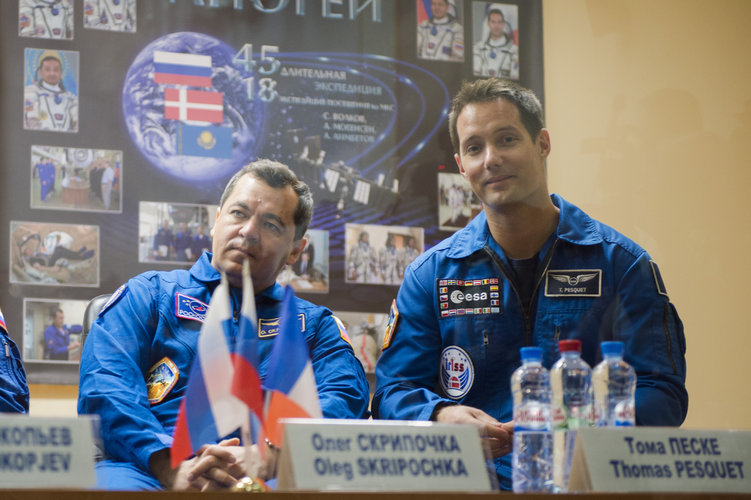 Thomas Pesquet during the press conference held at the Cosmonaut Hotel
