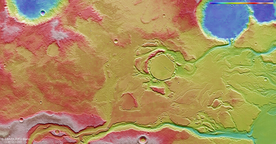Mangala Valles topography