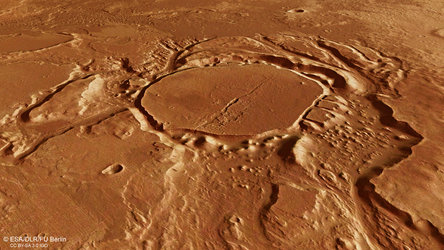 Perspective view of eroded crater in Mangala Valles