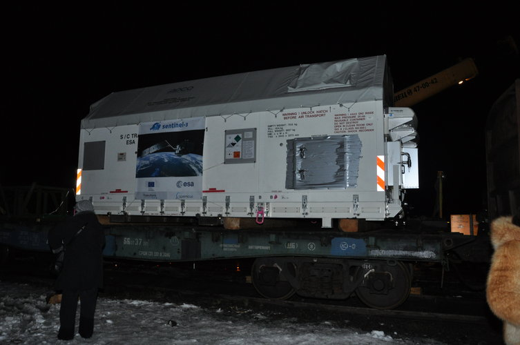 Arrival of Sentinel-3A at Arkhangelsk