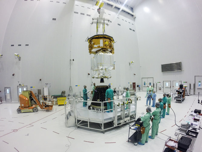 LISA Pathfinder being installed on its payload launcher adapter