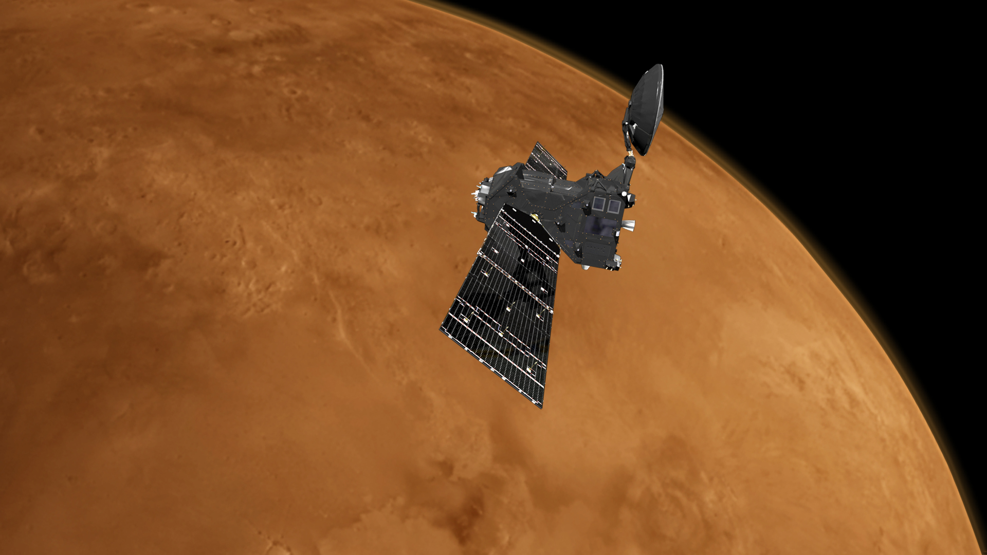 Artist's impression of the ExoMars 2016 Trace Gas Orbiter at Mars.