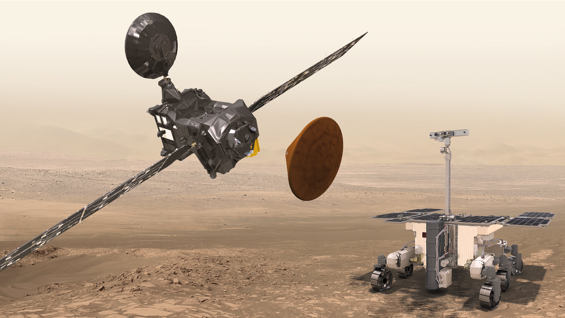 Trace Gas Orbiter, Schiaparelli and the ExoMars rover at Mars