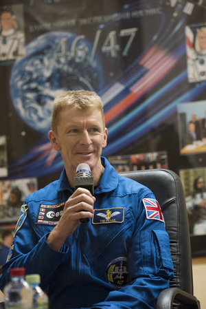 ESA astronaut Tim Peake answers questions during the pre-launch press conference