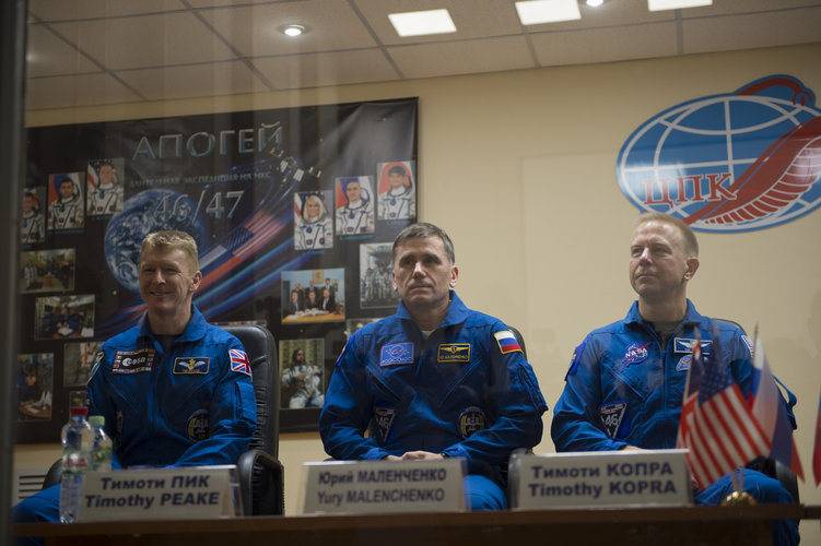 Expedition 46-47 prime crewmembers during the pre-launch press conference