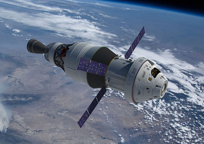 Orion with service module and propulsion stage