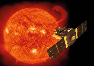 Artist's impression of the ESA/NASA Solar and Heliospheric Observatory, SOHO, with the Sun as seen by the satellite's extreme-ultraviolet imaging telescope on 14 September 1999.