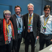 ESA's Director of Human Spaceflight and Operations, Thomas Reiter (second from right) with members of the mission control team in the Main Control Room at ESOC, 3 December 2015, for the launch of LISA Pathfinder.