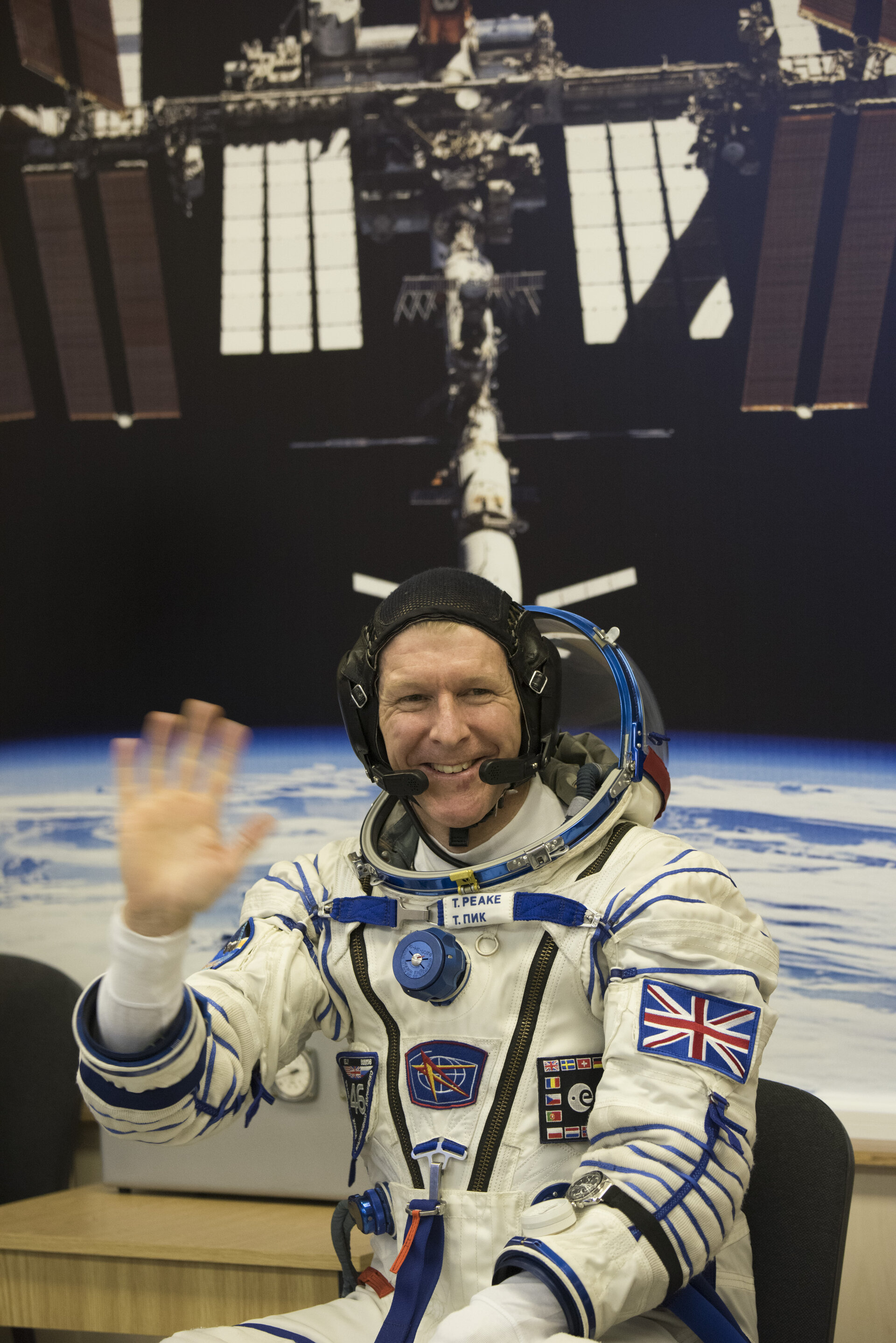 Tim Peake dressed in his Russian Sokol suit