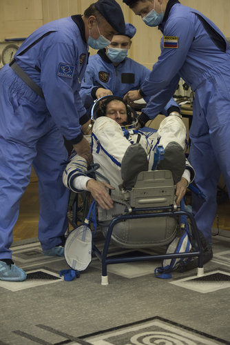 Tim Peake during his Sokol suit pressure testing