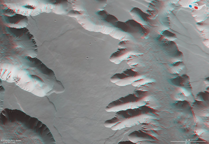 3D view in Noctis Labyrinthus