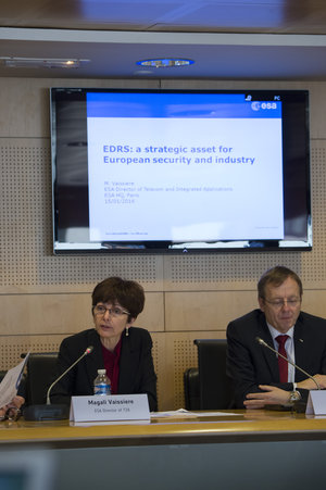 Magali Vaissiere during the EDRS press briefing on 15 January 2016