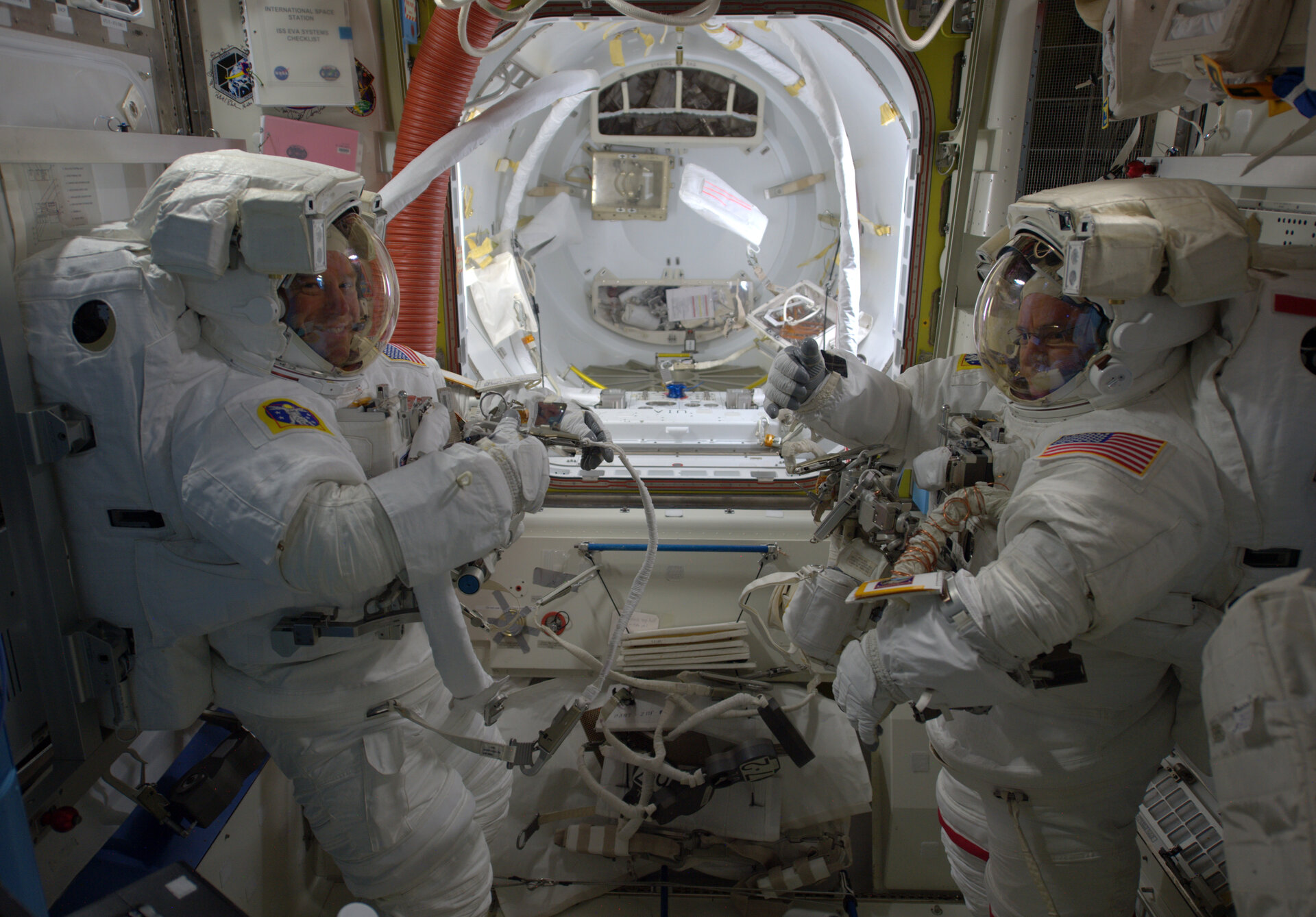 Preparing for spacewalk