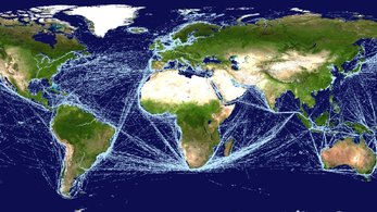 Ship Traffic Map.Space In Images 2016 01 Satellite Ais Based Map Of Global Ship