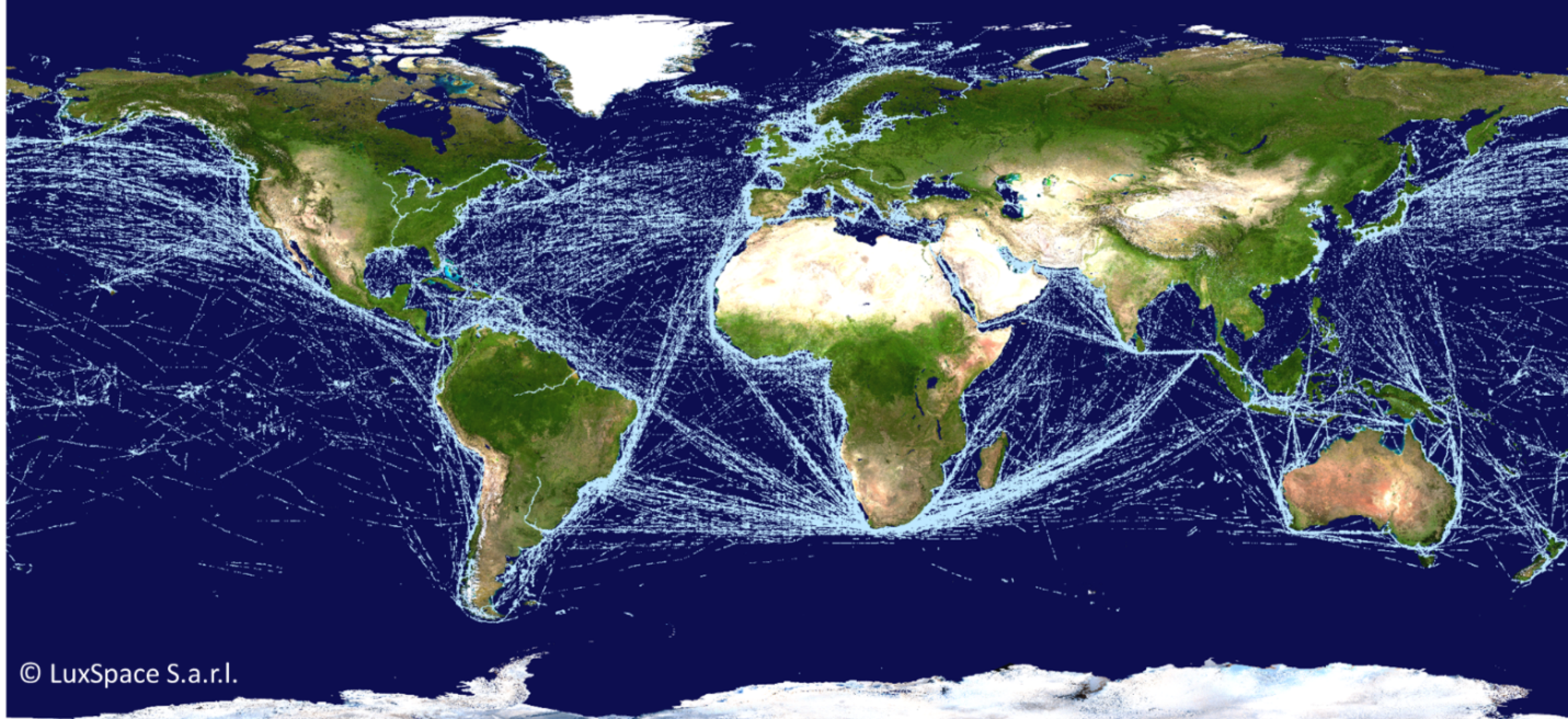 Map of global ship traffic based on satellite detection of signals that all ships transmit to enable the tracking of maritime traffic. This is the ocean equivalent of air traffic control.